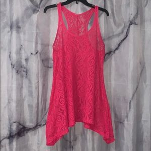 Hot Pink Lace Tank top